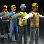Construction Workers x4 3d model