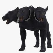 Piel de Cerberus de perro de tres cabezas modelo 3d