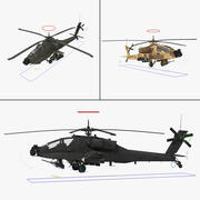 AH64A Apache Helicopter Rigged Collection 3d model