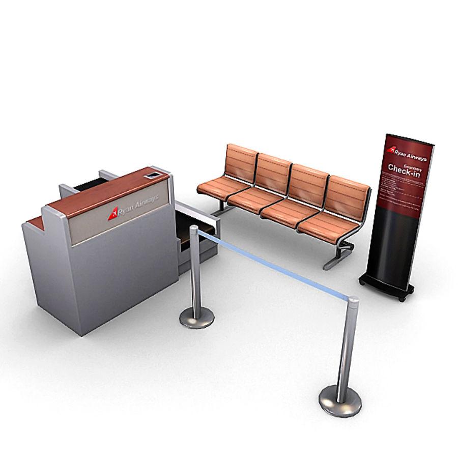 Пакет мебели для аэропорта 1 royalty-free 3d model - Preview no. 1