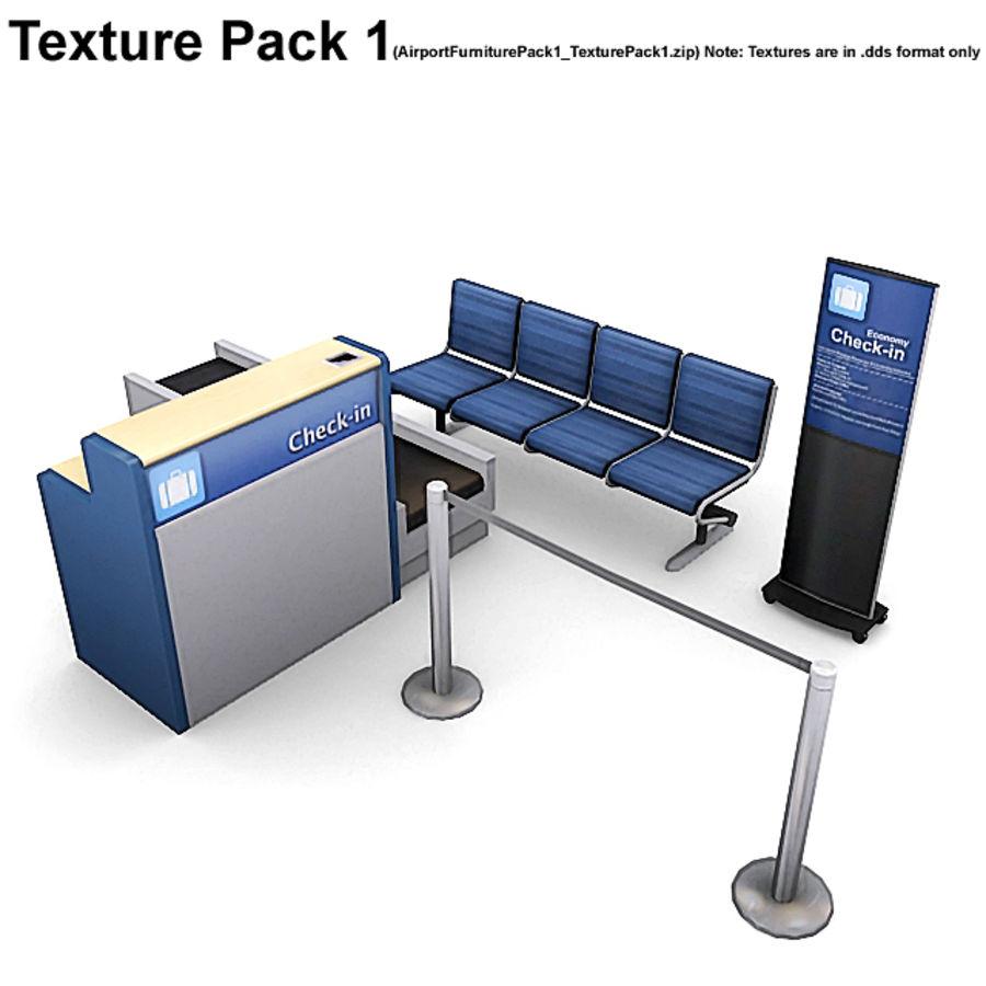Пакет мебели для аэропорта 1 royalty-free 3d model - Preview no. 9