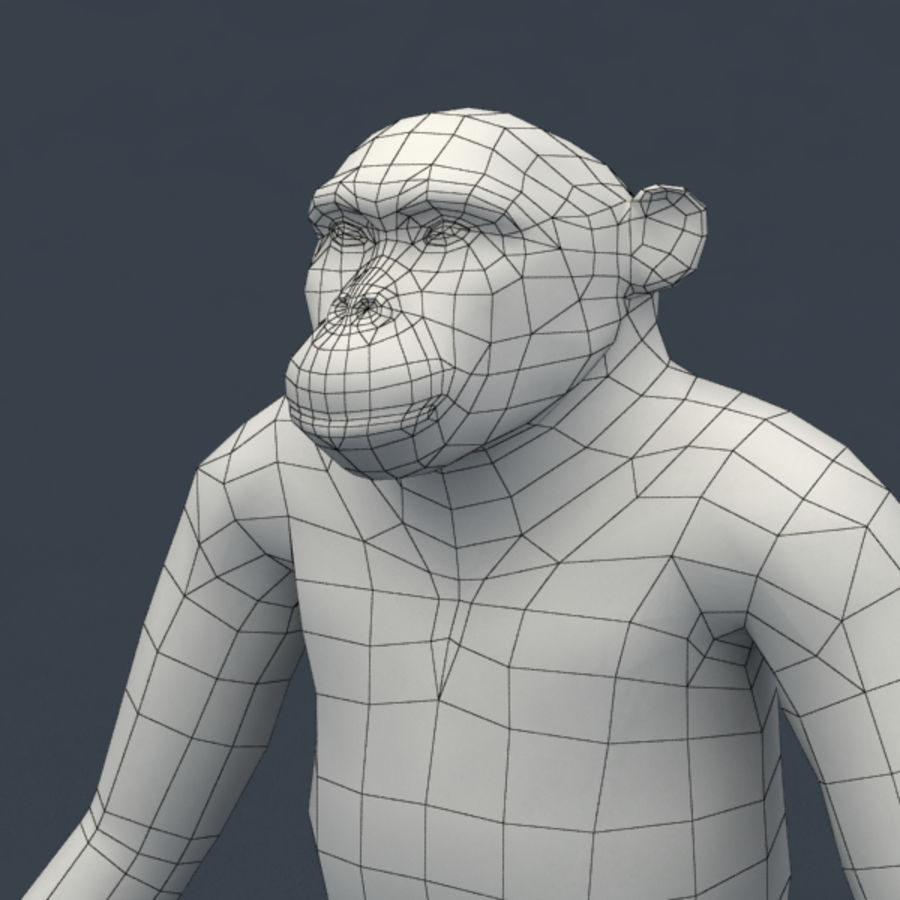 Chimpanzee Rigged Model royalty-free 3d model - Preview no. 9