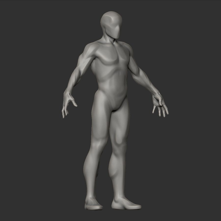Basemesh simples royalty-free 3d model - Preview no. 7