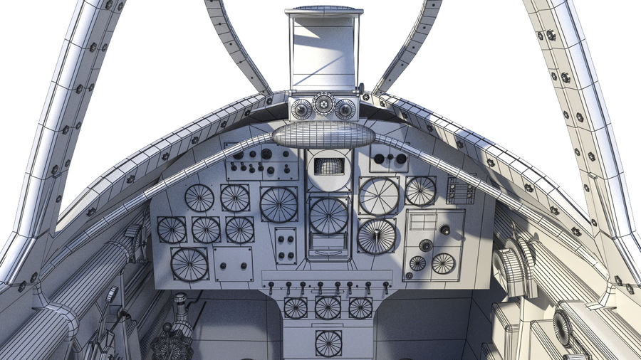 Dewoitine D.520 Cockpit royalty-free 3d model - Preview no. 9