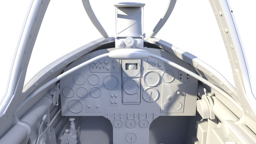Dewoitine D.520 Cockpit royalty-free 3d model - Preview no. 8