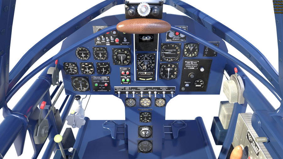 Dewoitine D.520 Cockpit royalty-free 3d model - Preview no. 6