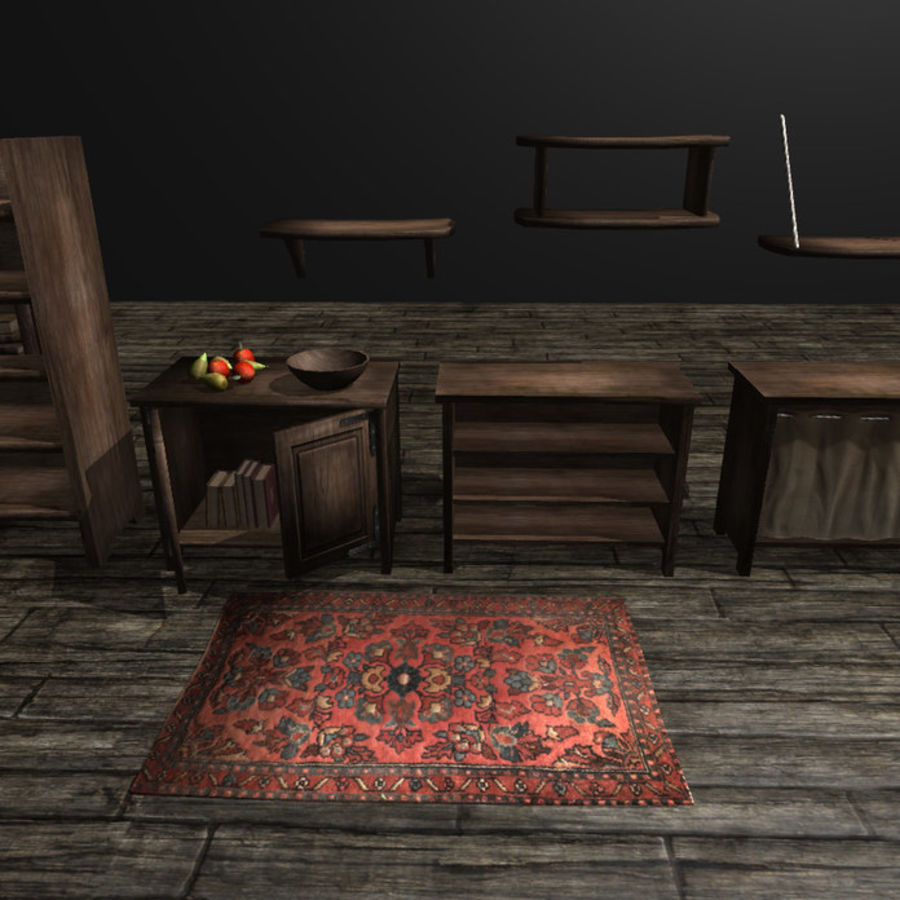 Medieval Furniture and Props royalty-free 3d model - Preview no. 3