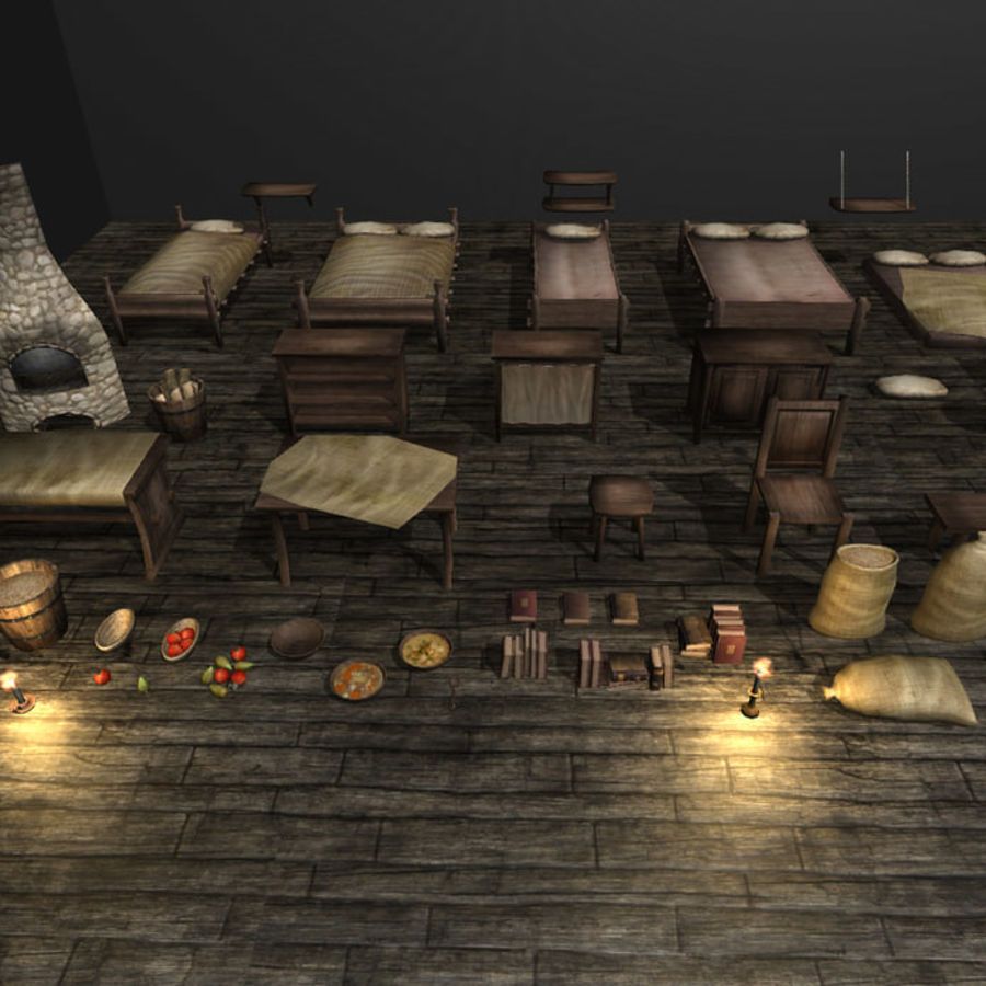 Medieval Furniture and Props royalty-free 3d model - Preview no. 6