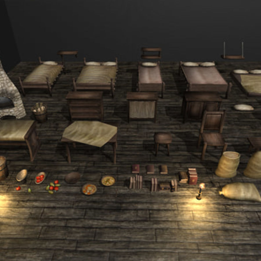 Medieval Furniture and Props royalty-free 3d model - Preview no. 1