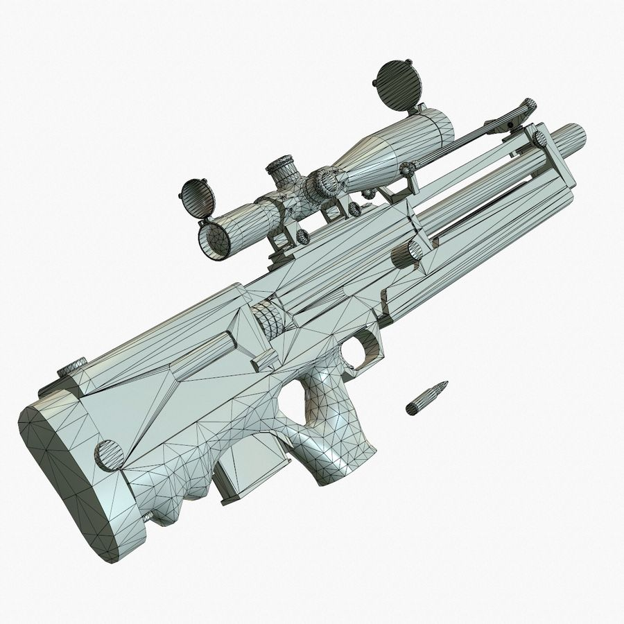 Walther WA2000 Low Poly royalty-free 3d model - Preview no. 20