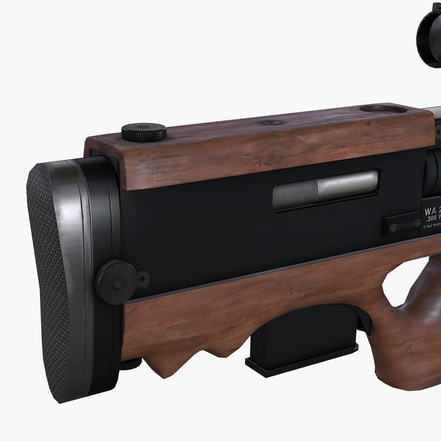 Walther WA2000 Low Poly royalty-free 3d model - Preview no. 10