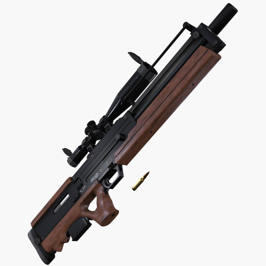 Walther WA2000 Low Poly royalty-free 3d model - Preview no. 7