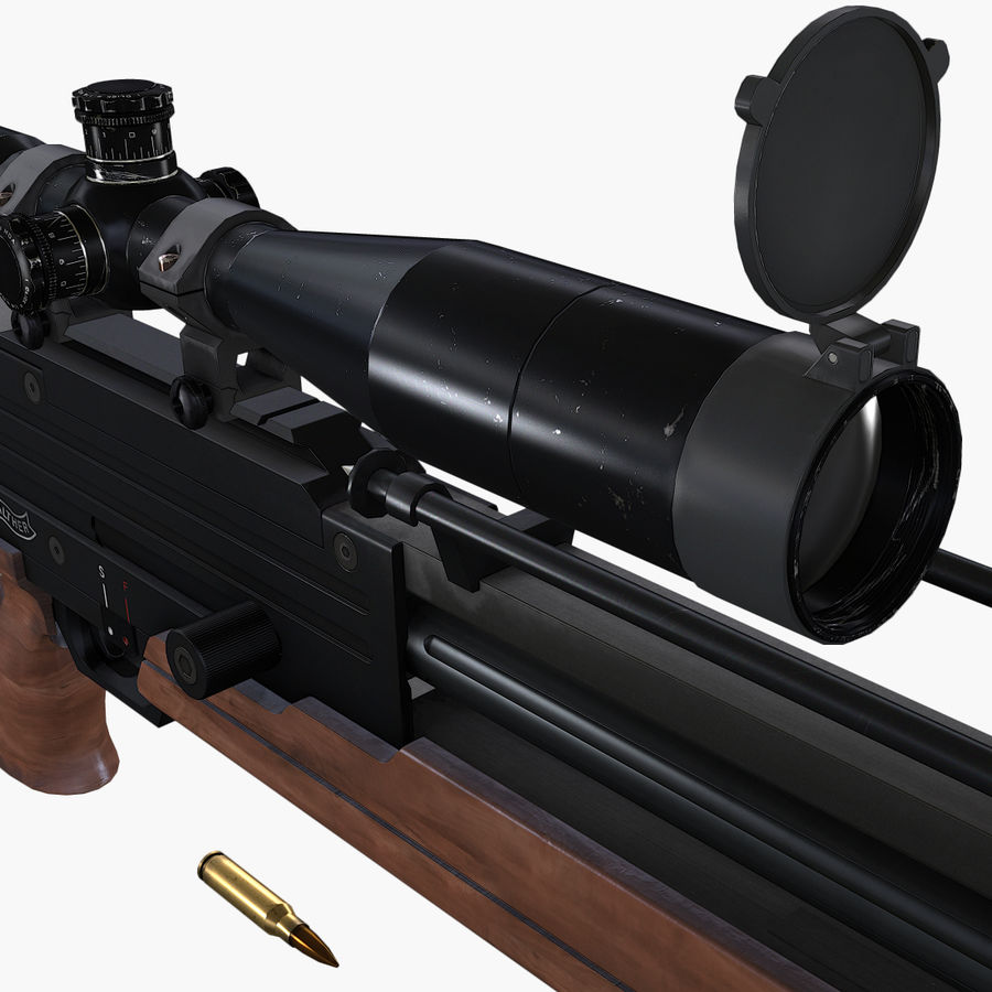Walther WA2000 Low Poly royalty-free 3d model - Preview no. 9
