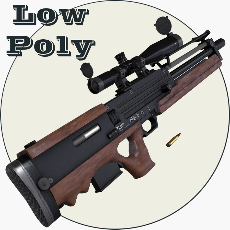Walther WA2000 Low Poly royalty-free 3d model - Preview no. 1