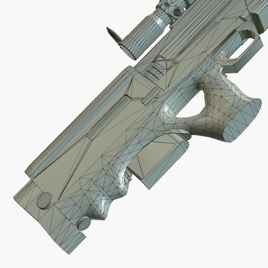 Walther WA2000 Low Poly royalty-free 3d model - Preview no. 22