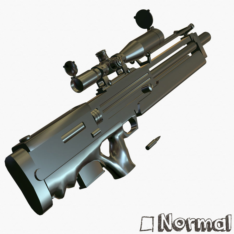 Walther WA2000 Low Poly royalty-free 3d model - Preview no. 17