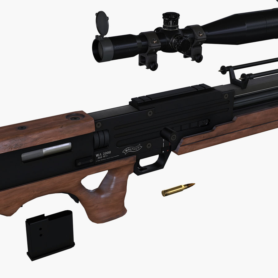 Walther WA2000 Low Poly royalty-free 3d model - Preview no. 15