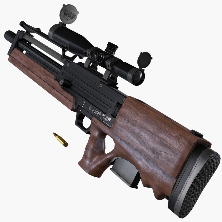 Walther WA2000 Low Poly royalty-free 3d model - Preview no. 8