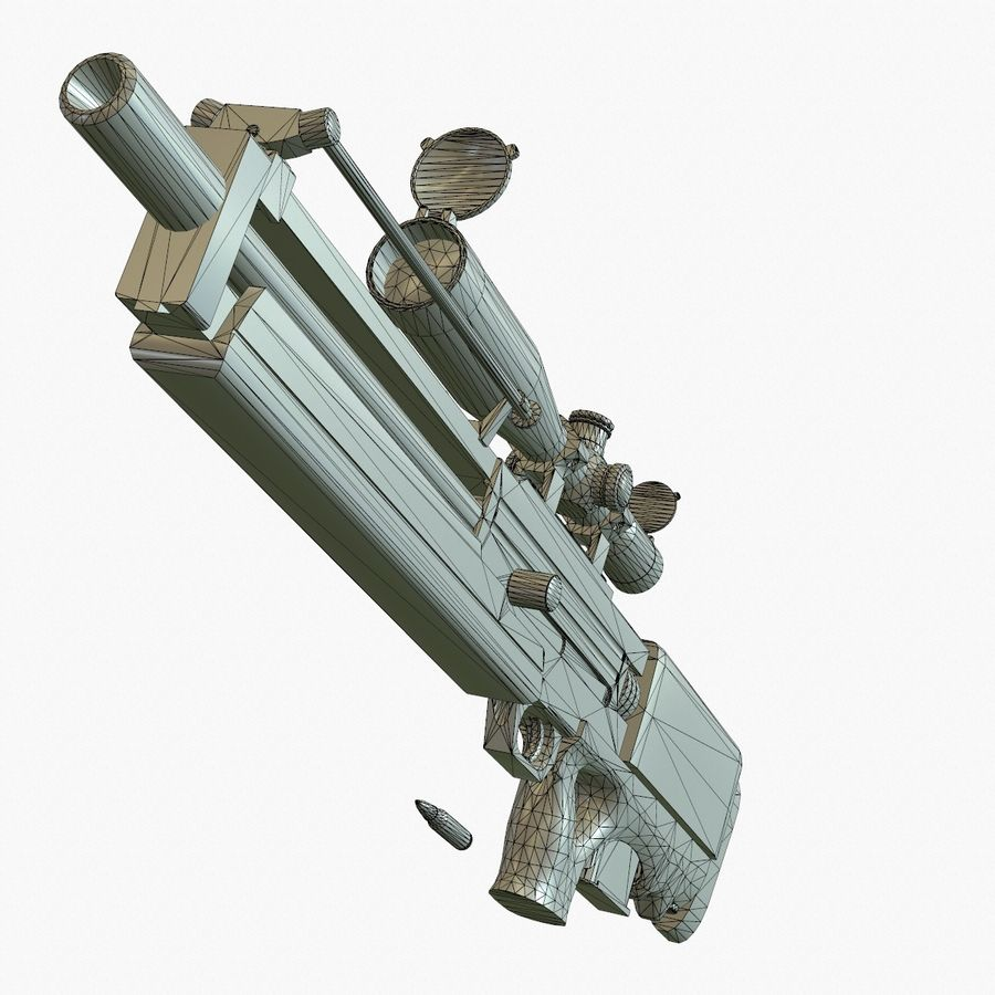 Walther WA2000 Low Poly royalty-free 3d model - Preview no. 21