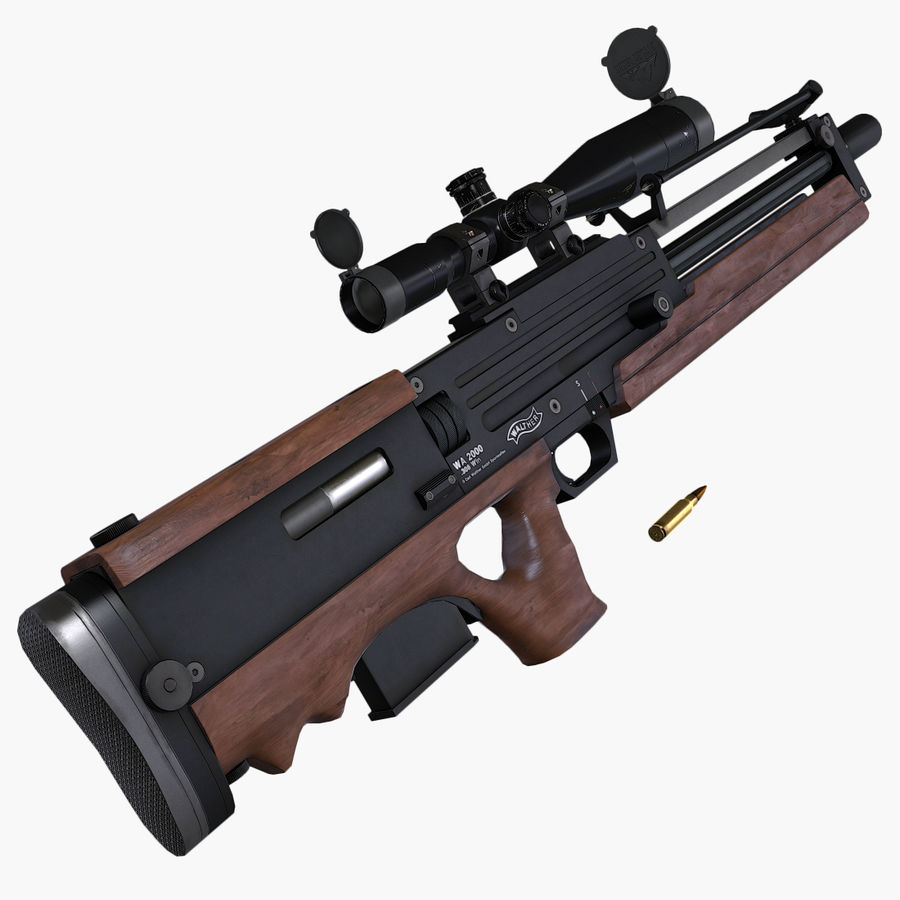 Walther WA2000 Low Poly royalty-free 3d model - Preview no. 6