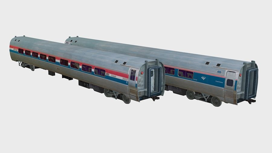 Amtrak Amfleet I&II royalty-free 3d model - Preview no. 1