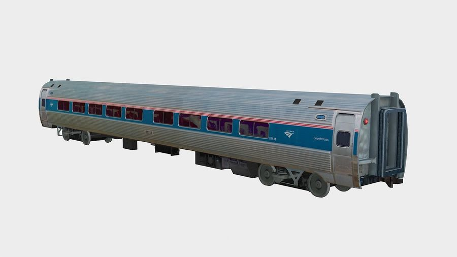 Amtrak Amfleet I & II royalty-free 3d model - Preview no. 2