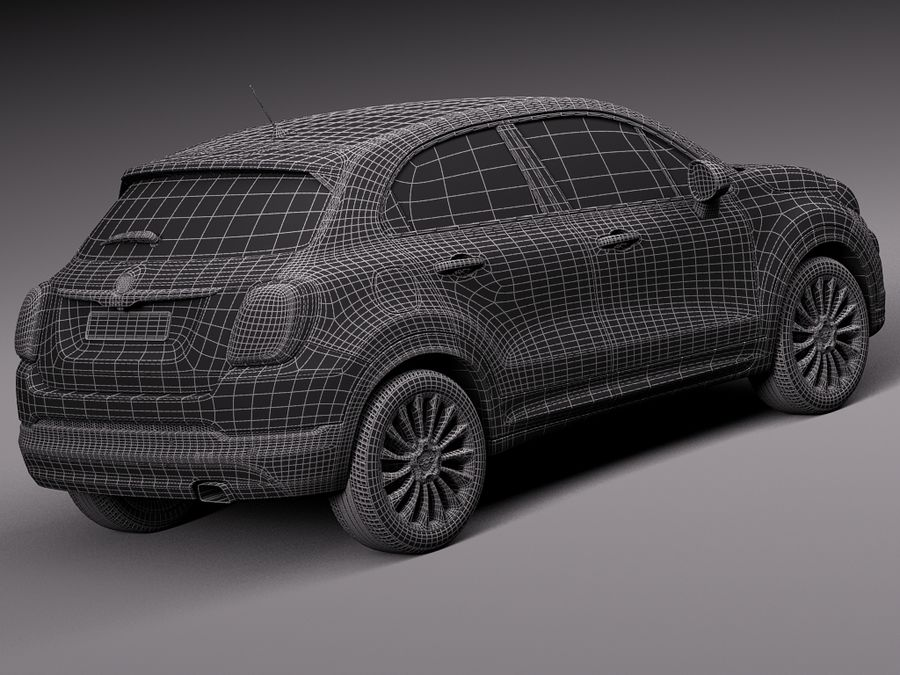 Fiat 500X 2015 royalty-free 3d model - Preview no. 16