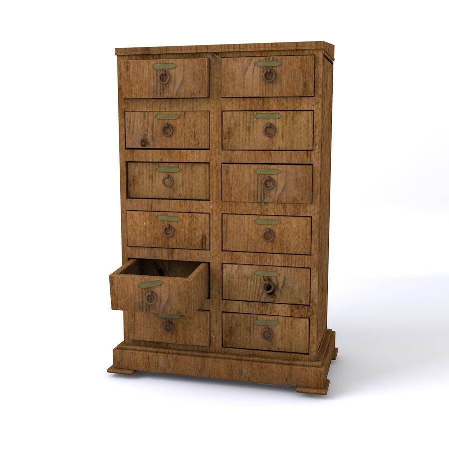meubles en bois royalty-free 3d model - Preview no. 3