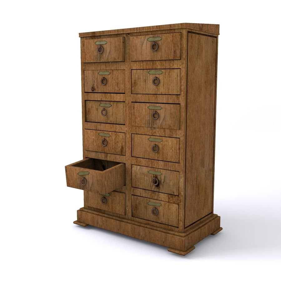 meubles en bois royalty-free 3d model - Preview no. 1