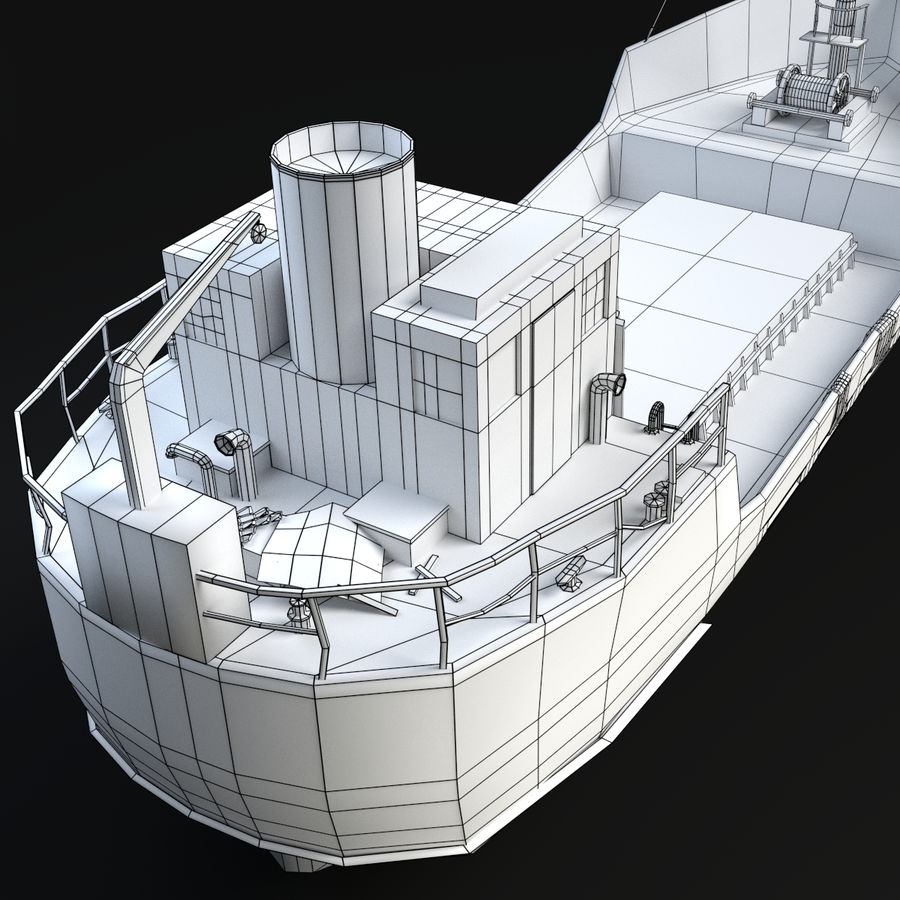 Rusty Cargo Ship royalty-free 3d model - Preview no. 10