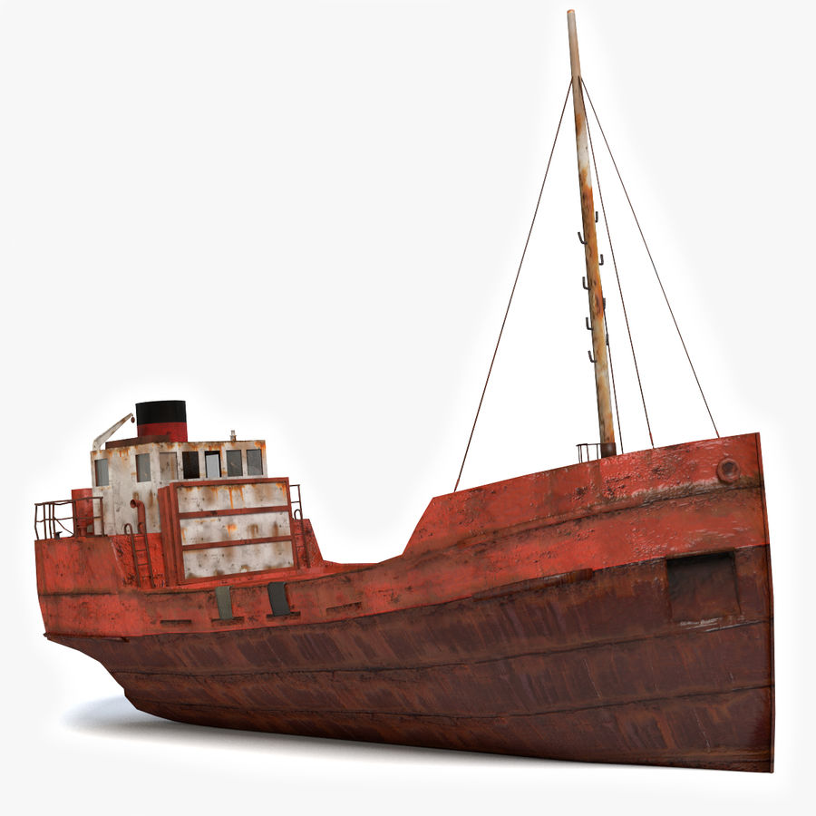 Rusty Cargo Ship royalty-free 3d model - Preview no. 1