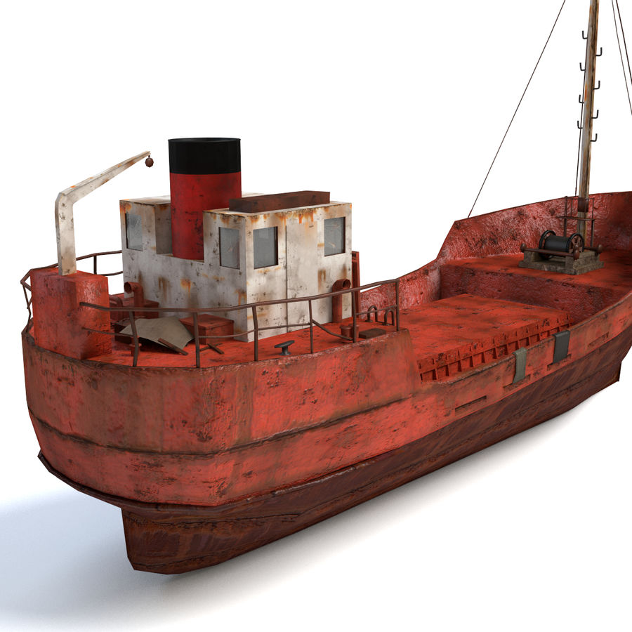 Rusty Cargo Ship royalty-free 3d model - Preview no. 4