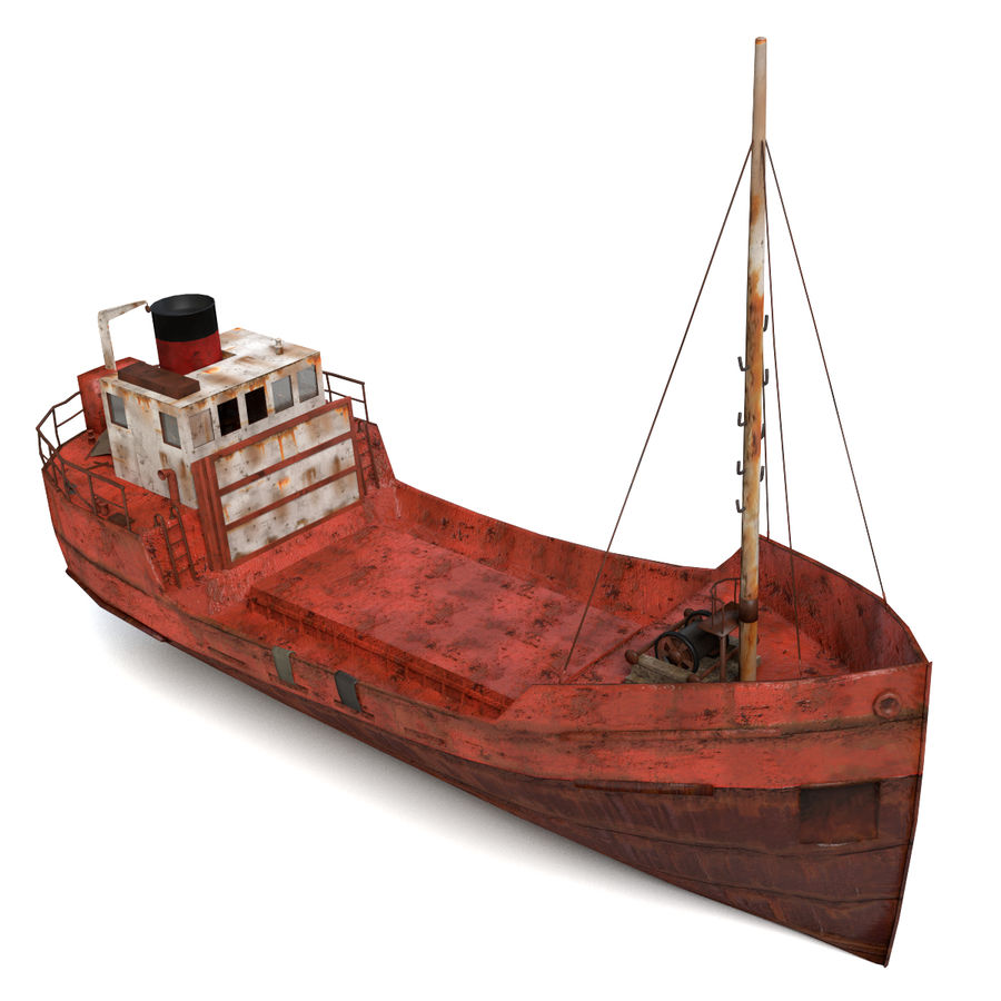 Rusty Cargo Ship royalty-free 3d model - Preview no. 2