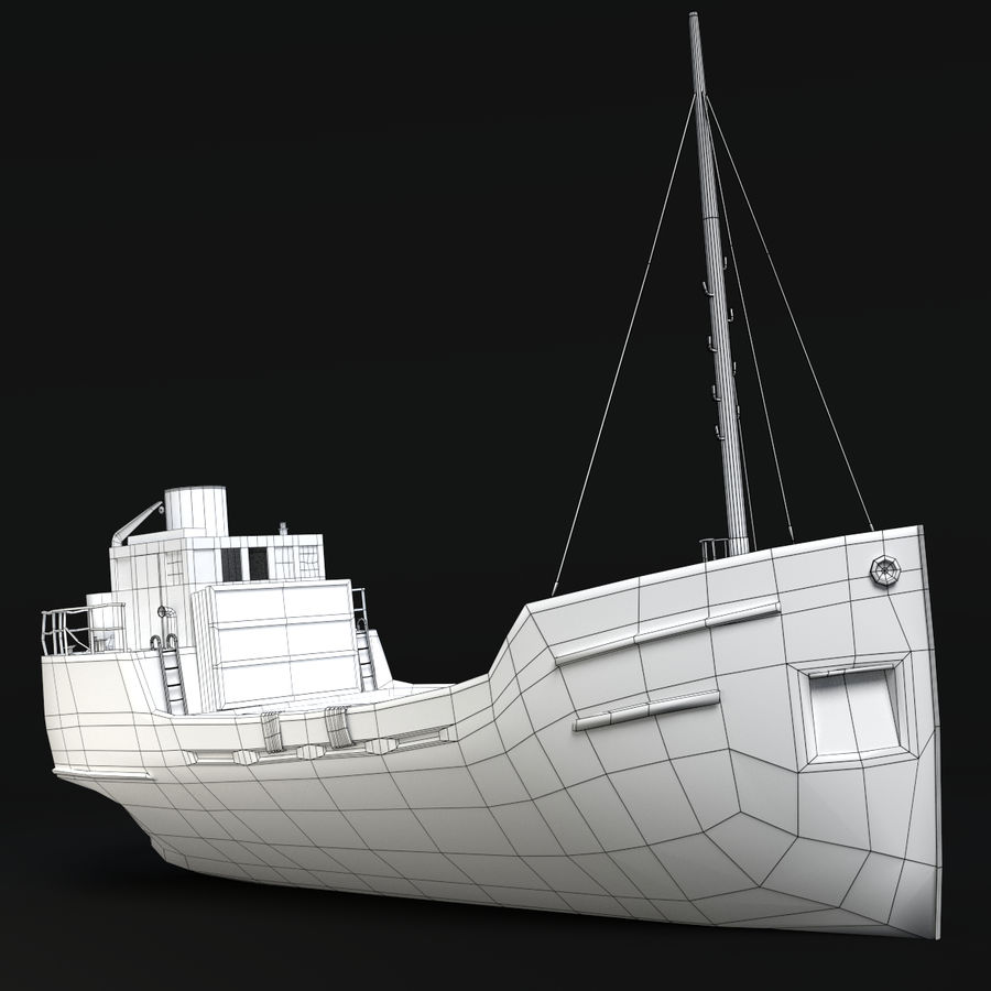 Rusty Cargo Ship royalty-free 3d model - Preview no. 8