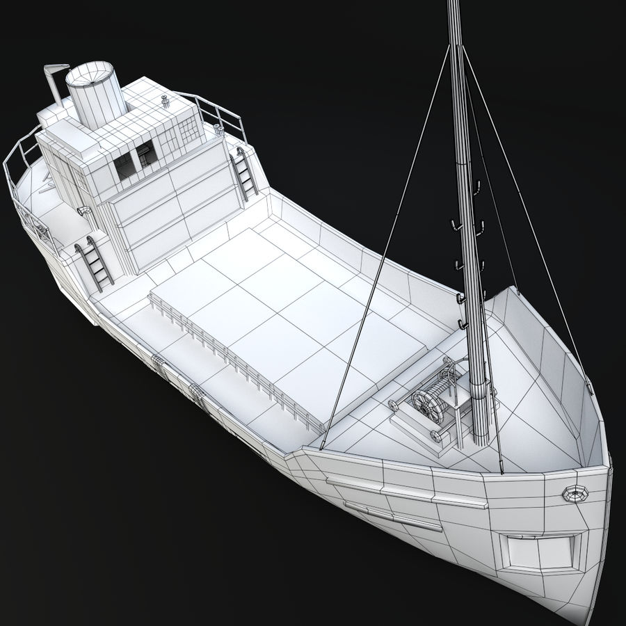 Rusty Cargo Ship royalty-free 3d model - Preview no. 9