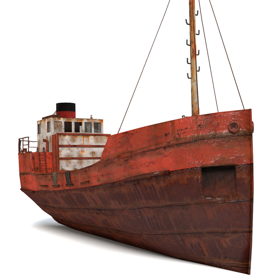Rusty Cargo Ship royalty-free 3d model - Preview no. 3