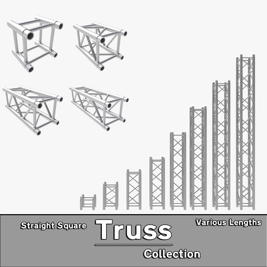 Straight Truss Collection (Square) royalty-free 3d model - Preview no. 1