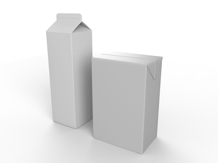 carton box juice and milk royalty-free 3d model - Preview no. 1