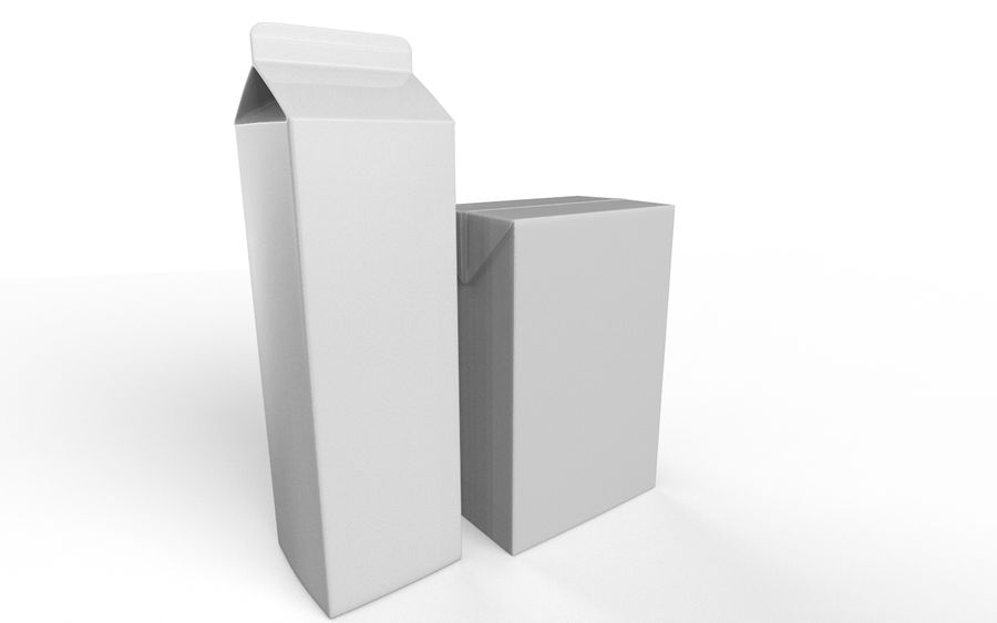 carton box juice and milk royalty-free 3d model - Preview no. 8