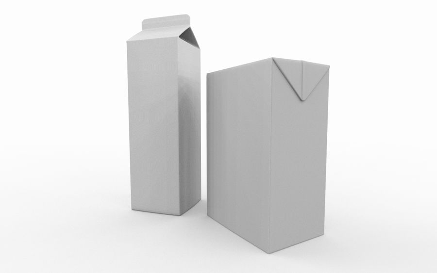 carton box juice and milk royalty-free 3d model - Preview no. 9