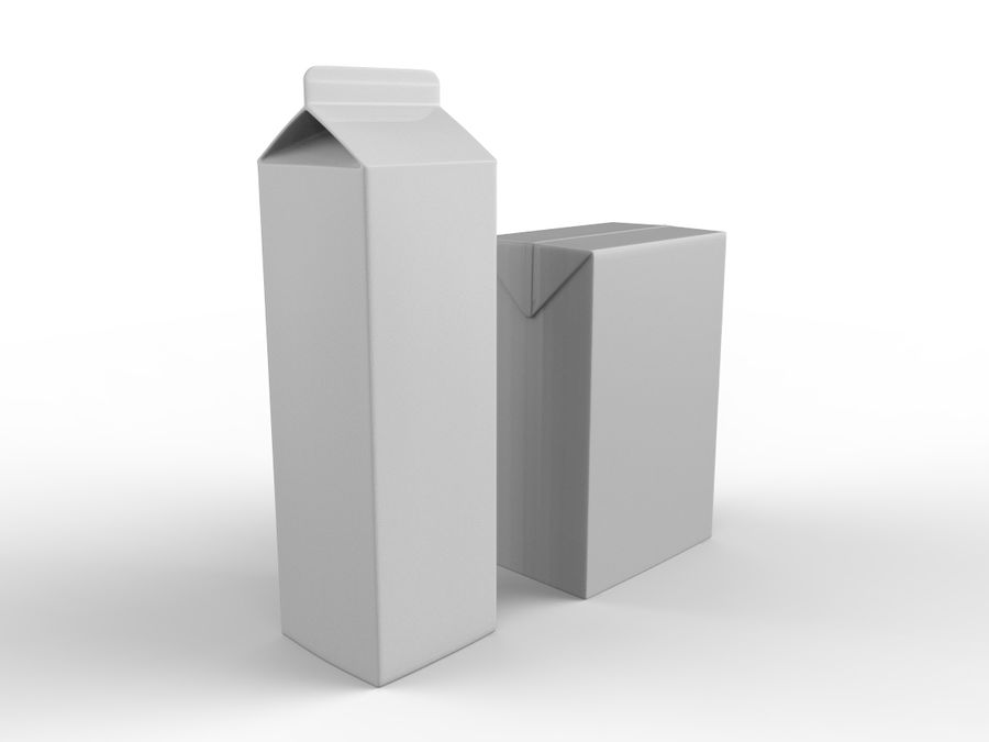 carton box juice and milk royalty-free 3d model - Preview no. 2