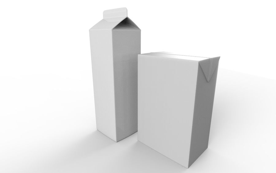 carton box juice and milk royalty-free 3d model - Preview no. 6