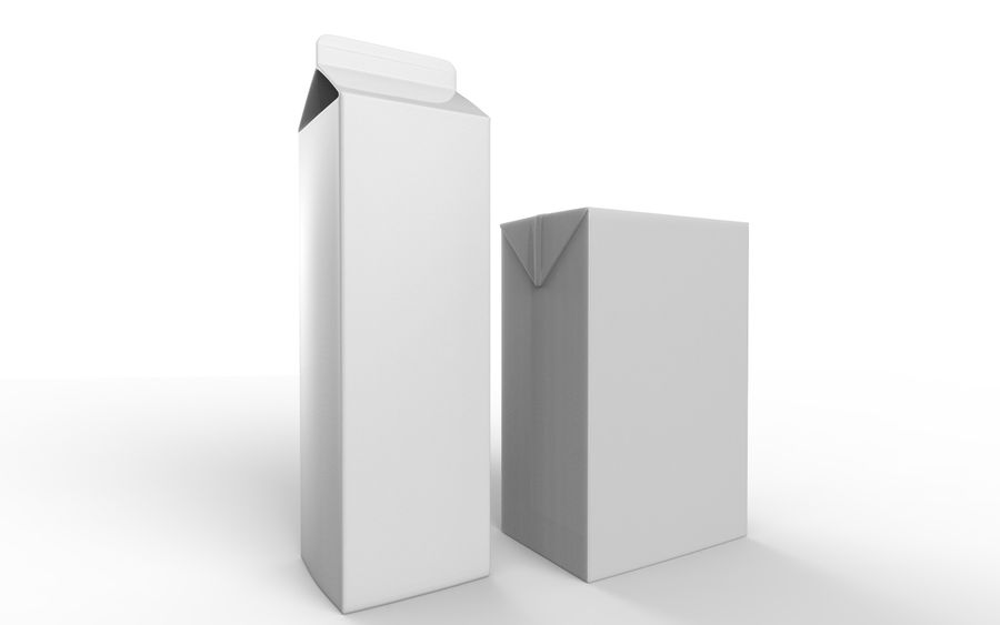 carton box juice and milk royalty-free 3d model - Preview no. 5