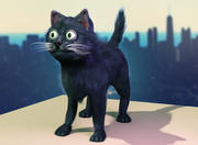 Kreskówka ulicy czarny kot 3d model