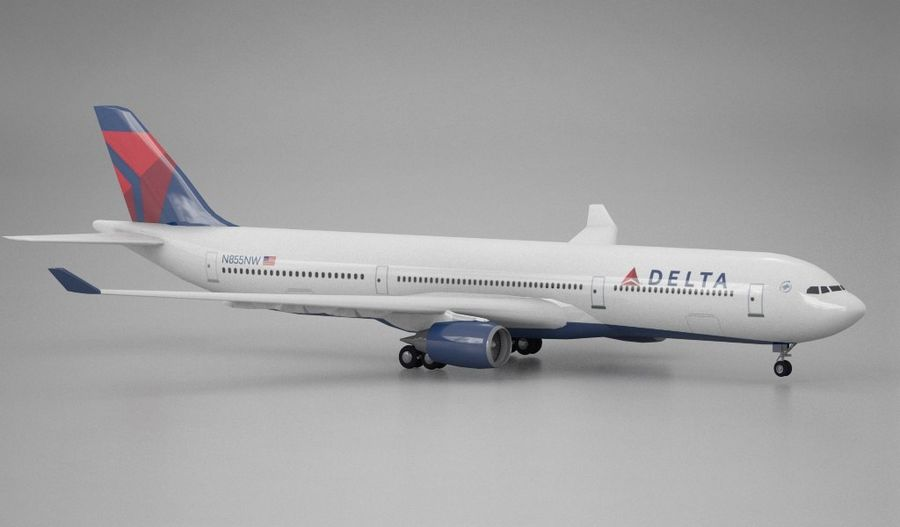 Airbus A330 Delta royalty-free 3d model - Preview no. 2