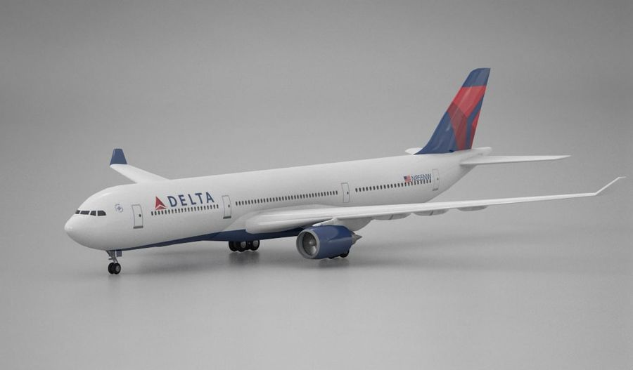 Airbus A330 Delta royalty-free 3d model - Preview no. 1