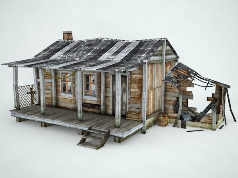 Casa velha royalty-free 3d model - Preview no. 1