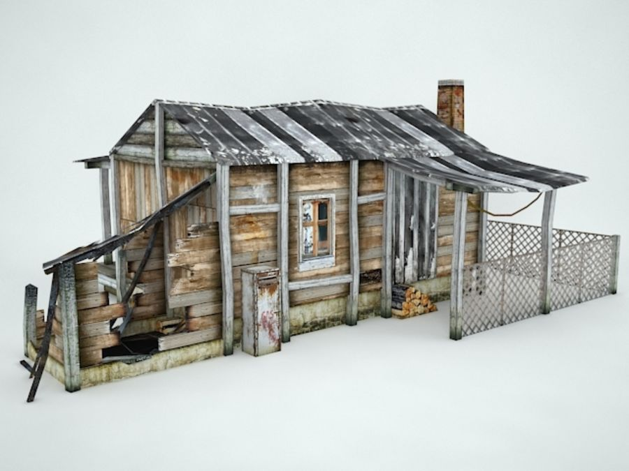 Casa velha royalty-free 3d model - Preview no. 5