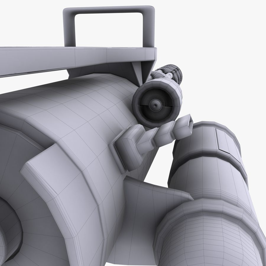 Minigun royalty-free 3d model - Preview no. 10