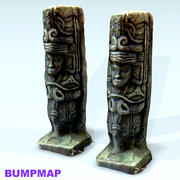 moai stone face textured 3d model